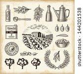 vintage olive harvest set.... | Shutterstock .eps vector #144201538