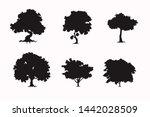 tree set of black silhouette...   Shutterstock .eps vector #1442028509