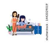 girl sitting in the room on the ... | Shutterstock .eps vector #1442029019