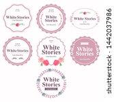 vintage flower logo set pink | Shutterstock .eps vector #1442037986