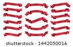red ribbons banners isolated on ... | Shutterstock .eps vector #1442050016