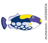 reef fish in paper art style.... | Shutterstock .eps vector #1442068526
