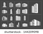 Buildings vector white web icons set on dark background | Shutterstock vector #144209098