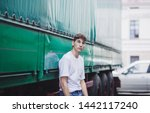 young man wearing white blank t ...   Shutterstock . vector #1442117240