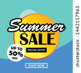 summer sale banner  flyer  web... | Shutterstock .eps vector #1442117963