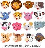 Stock vector cartoon animal head collection set 144212020