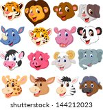 Stock photo cartoon animal head collection set 144212023