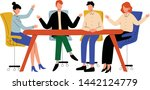 business people sitting at desk ...   Shutterstock .eps vector #1442124779