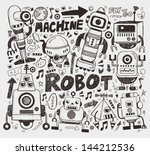 doodle robot element ... | Shutterstock .eps vector #144212536
