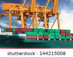 crane working with container... | Shutterstock . vector #144215008