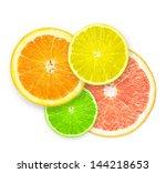 stack of citrus fruit slices ... | Shutterstock . vector #144218653