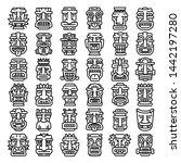 artwork polynesian tiki idols... | Shutterstock .eps vector #1442197280