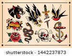 vector set of old school tattoo ... | Shutterstock .eps vector #1442237873