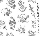 vector old school tattoo... | Shutterstock .eps vector #1442238020