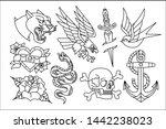 vector set of old school tattoo ... | Shutterstock .eps vector #1442238023