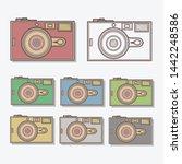 cool retro camera in different... | Shutterstock .eps vector #1442248586