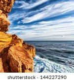 rocky headland on the atlantic... | Shutterstock . vector #144227290