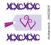 love and kisses tag with hearts ... | Shutterstock .eps vector #14422819
