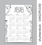 calendar 2020 vector template ... | Shutterstock .eps vector #1442291150