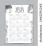 calendar 2021 vector template ... | Shutterstock .eps vector #1442291243