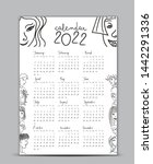calendar 2022 vector template ... | Shutterstock .eps vector #1442291336