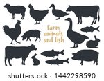 Stock vector set of silhouettes farm animals isolated on light background image for meat stores market 1442298590