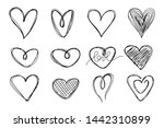 big set of hand drawn hearts on ... | Shutterstock .eps vector #1442310899