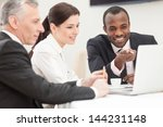 business colleagues sitting... | Shutterstock . vector #144231148