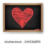 heart drawn in red chalk | Shutterstock .eps vector #144236890