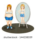 illustration of a fat girl and... | Shutterstock .eps vector #144238339