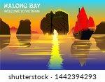 halong bay. a beautiful natural ... | Shutterstock .eps vector #1442394293