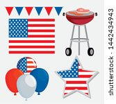set of party banner with usa... | Shutterstock .eps vector #1442434943