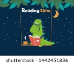 Funny Dinosaur Reads A Book On...
