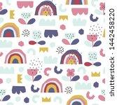 seamless cartoon pattern for...   Shutterstock .eps vector #1442458220