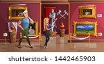 museum exhibition room cartoon...   Shutterstock .eps vector #1442465903