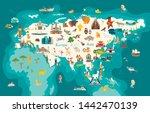 eurasia continent  world map... | Shutterstock .eps vector #1442470139