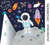 space flat vector background... | Shutterstock .eps vector #1442480696