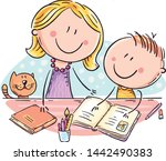 mother helping her son with the ... | Shutterstock .eps vector #1442490383