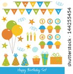 happy birthday collection.... | Shutterstock .eps vector #144255454