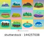 vector set background mountain... | Shutterstock .eps vector #144257038