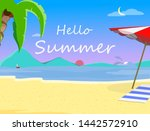 beach background with hello... | Shutterstock . vector #1442572910