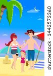 happy family at beach party.... | Shutterstock . vector #1442573360