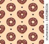 vector pattern. glazed donuts... | Shutterstock .eps vector #1442580236