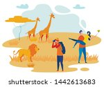 photographer and tourists flat... | Shutterstock .eps vector #1442613683