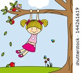 girl playing on a tree swing | Shutterstock .eps vector #144261619