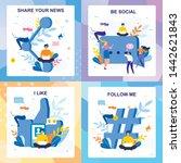 flat media lettering cards... | Shutterstock .eps vector #1442621843
