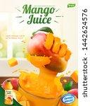 mango juice ads with liquid... | Shutterstock .eps vector #1442624576