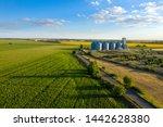 aerial view new grain elevator... | Shutterstock . vector #1442628380