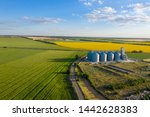 aerial view new grain elevator... | Shutterstock . vector #1442628383