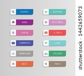vector set flat icon button...